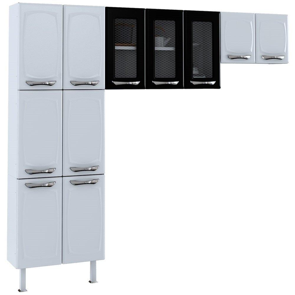 Cozinha Compacta Leblon Em A O 11 Portas Branco Preto Colormaq